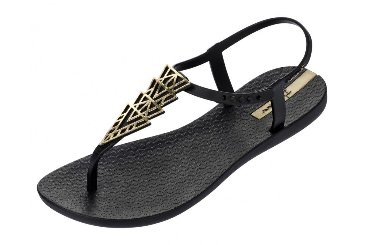 d3c463cd1a442 Ipanema Charm II Black Gold T Bar Women s Flat Sandals Ipanema Flip Flops