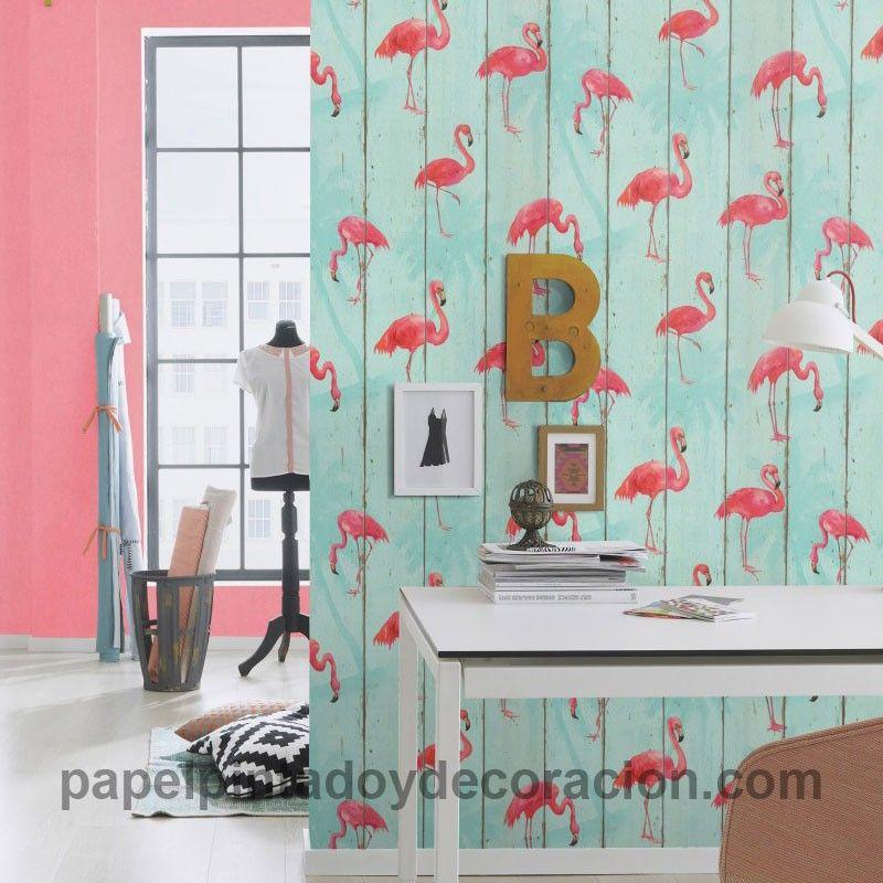Papel pintado imitaci n madera con flamenco rosa - Papel imitacion madera ...