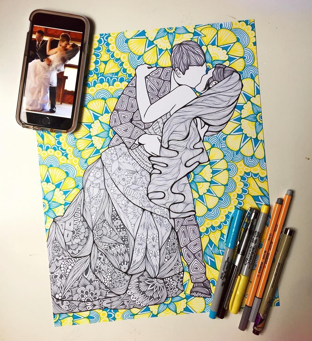 Honored To Recreate This Loving Couples Wedding Photo For Their First Anniversary Ido Zentangle