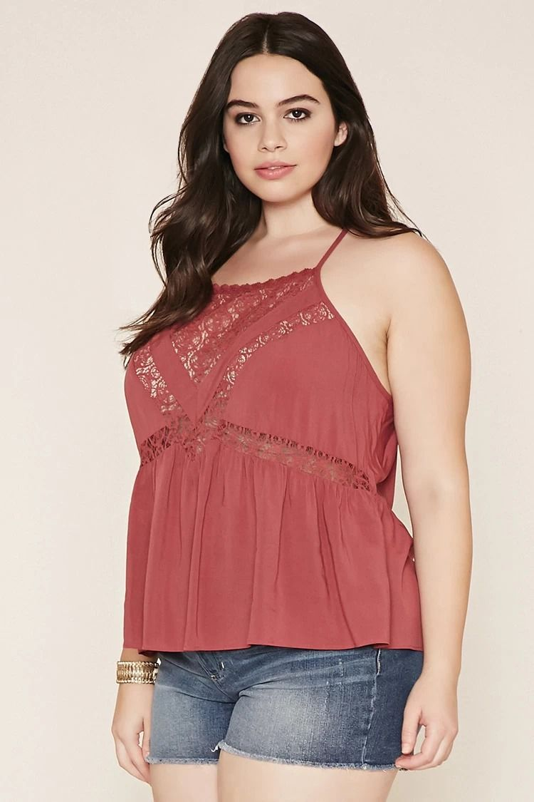 Plus Size Lace-Paneled Cami | Plus size | Pinterest | Vestuarios ...
