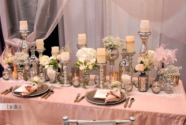 Sweetheart table designs mercury glass love the look of for Glass tables for wedding reception