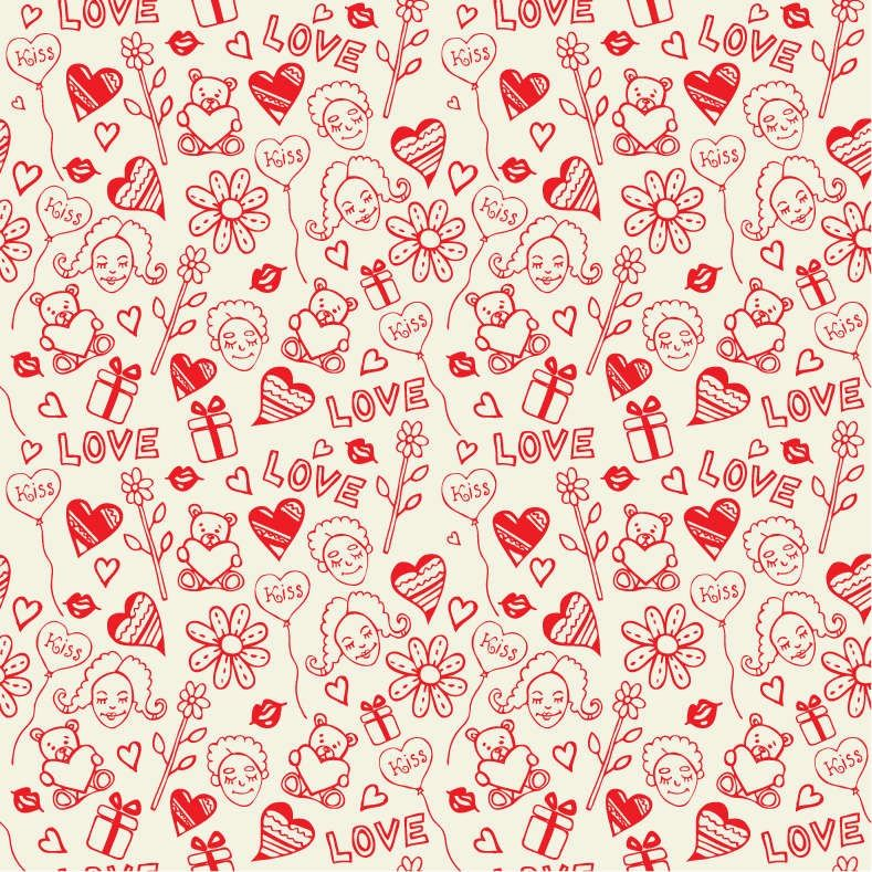 Romantic Love Seamless Pattern Vector Pattern Paper Pattern Seamless Pattern Vector
