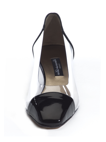 Ada - 4 Cm - Pump - Clear Lucite Upper - Natural Sole - Hand Fabricated in Italy - Available in Black Patent and Camel Suede.