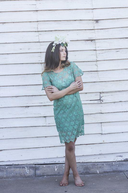 Violet & I Bridal Gardenia Shift Dress #wedding #vintage #lace #flowercrown #bridesmaid #greendress