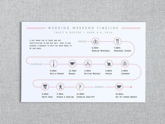 Day Of The Wedding Timeline Wedding Weekend Timeline In The Post Customizable Printable Wedding Invitation Enclosures Wedding Weekend Wedding Invitations