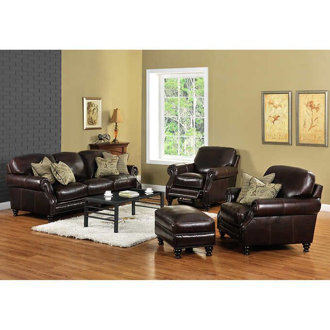 wayport 4piece top grain leather set with recliner