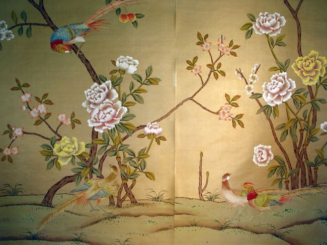 Hand painted wallpaper silk wallpaper china wallpaper grace silk wallpaper panel chinoiserie