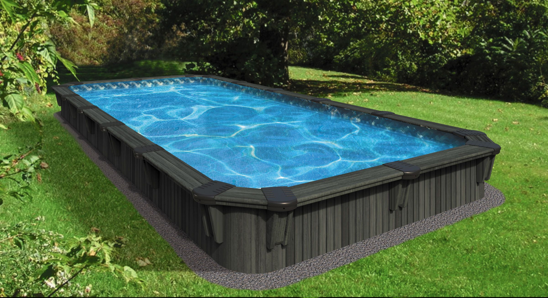 Aqua Wood Rectangular Semi Inground Wood Pool Backyard Pool Pool Landscaping Semi Inground Pools