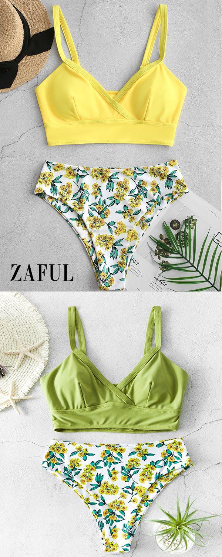 ZAFUL Floral Surplice High Cut Tankini Swimsuit – Swimsuit
