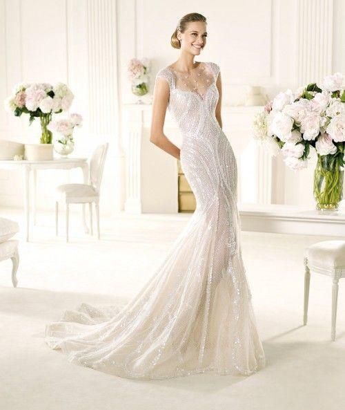 Vestido de novia corte sirena modelo ventura con brocados y mangas ...