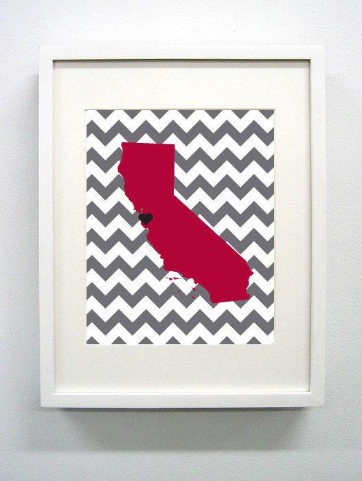 Stanford California State Giclee Map Art Print 8x10 Graduation