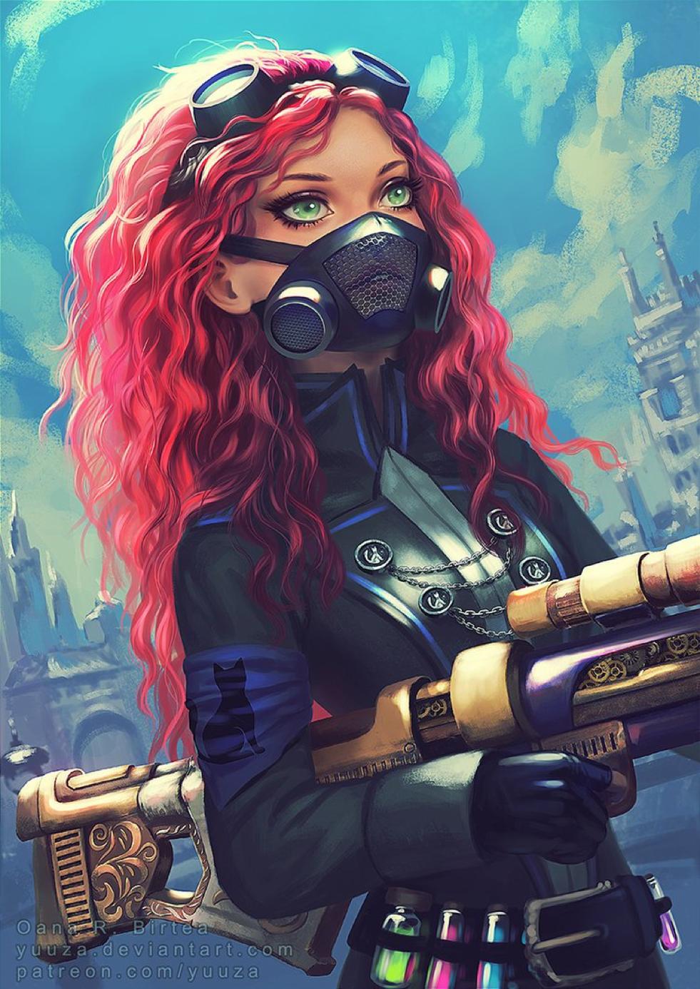 Steam Punk Red Head Girl Digital art girl, Anime art