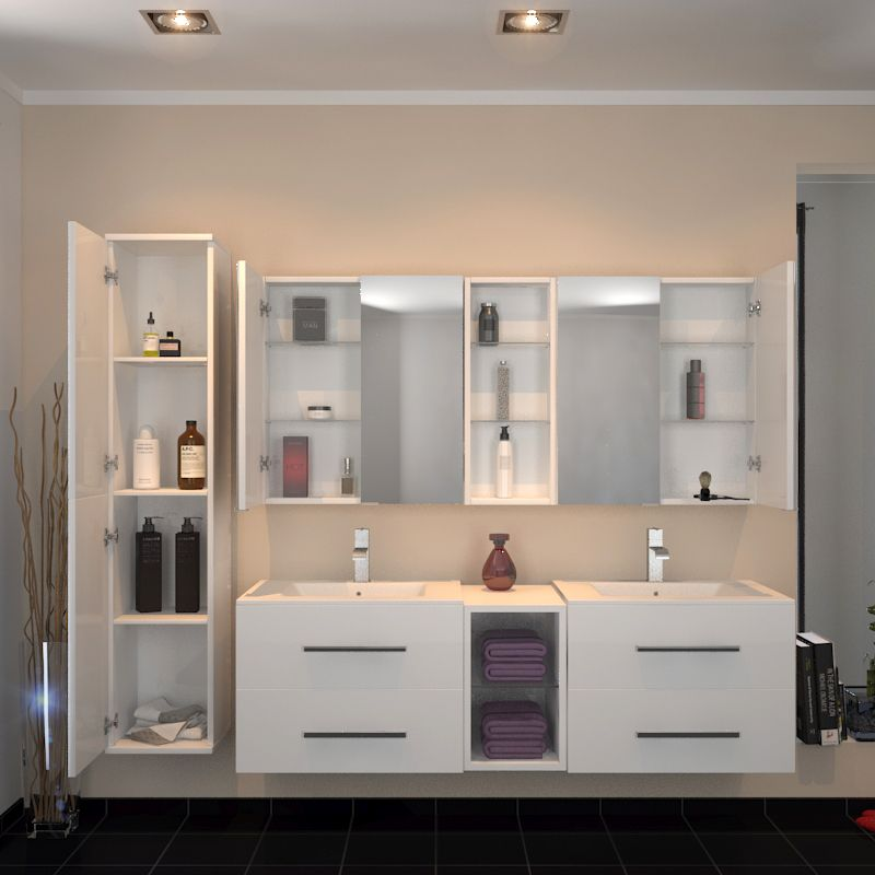 Sonix 1500 Wall hung Double Basin Vanity Unit White in ...