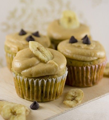 Banana chocolate cupcake with peanut butter frosting
