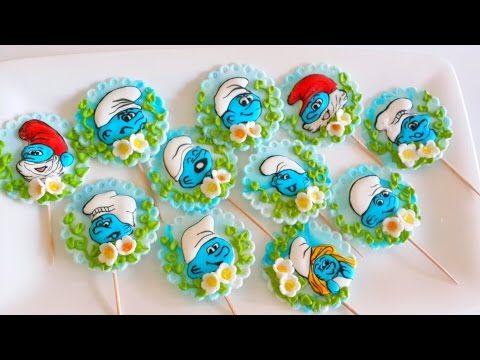زينة للكاب كيك بعجينة السكر و السنافر بالأيسينج Youtube Desserts Cake
