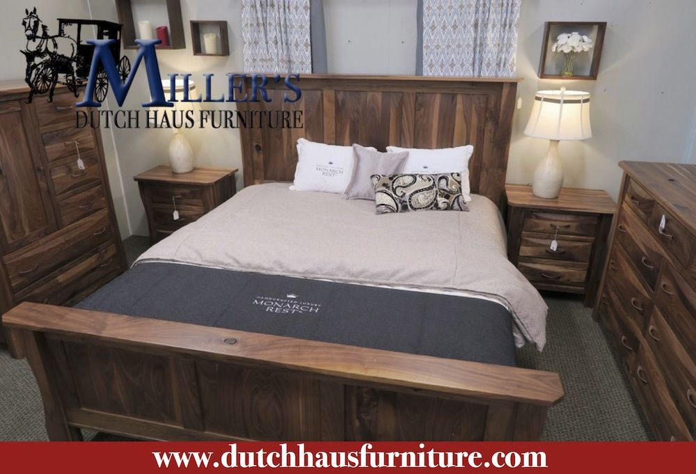 Our Amish made Preston bedroom set. Shown in Rustic Walnut Wood ...