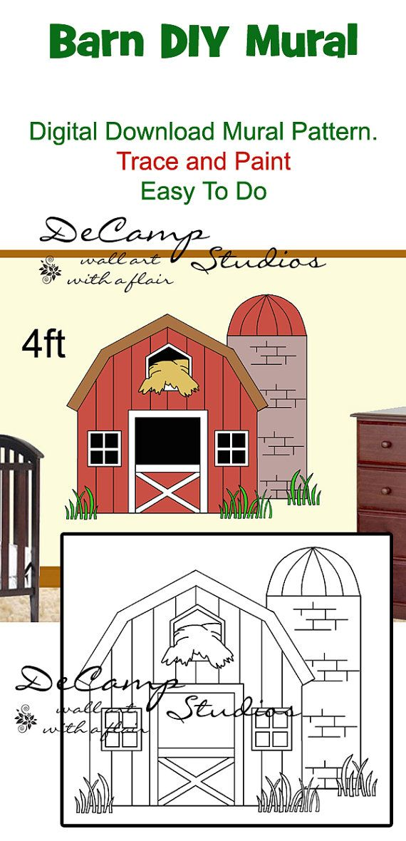 photo relating to Printable Mural named Do it yourself BARN MURAL Printable Wall Practice Electronic Down load Hint