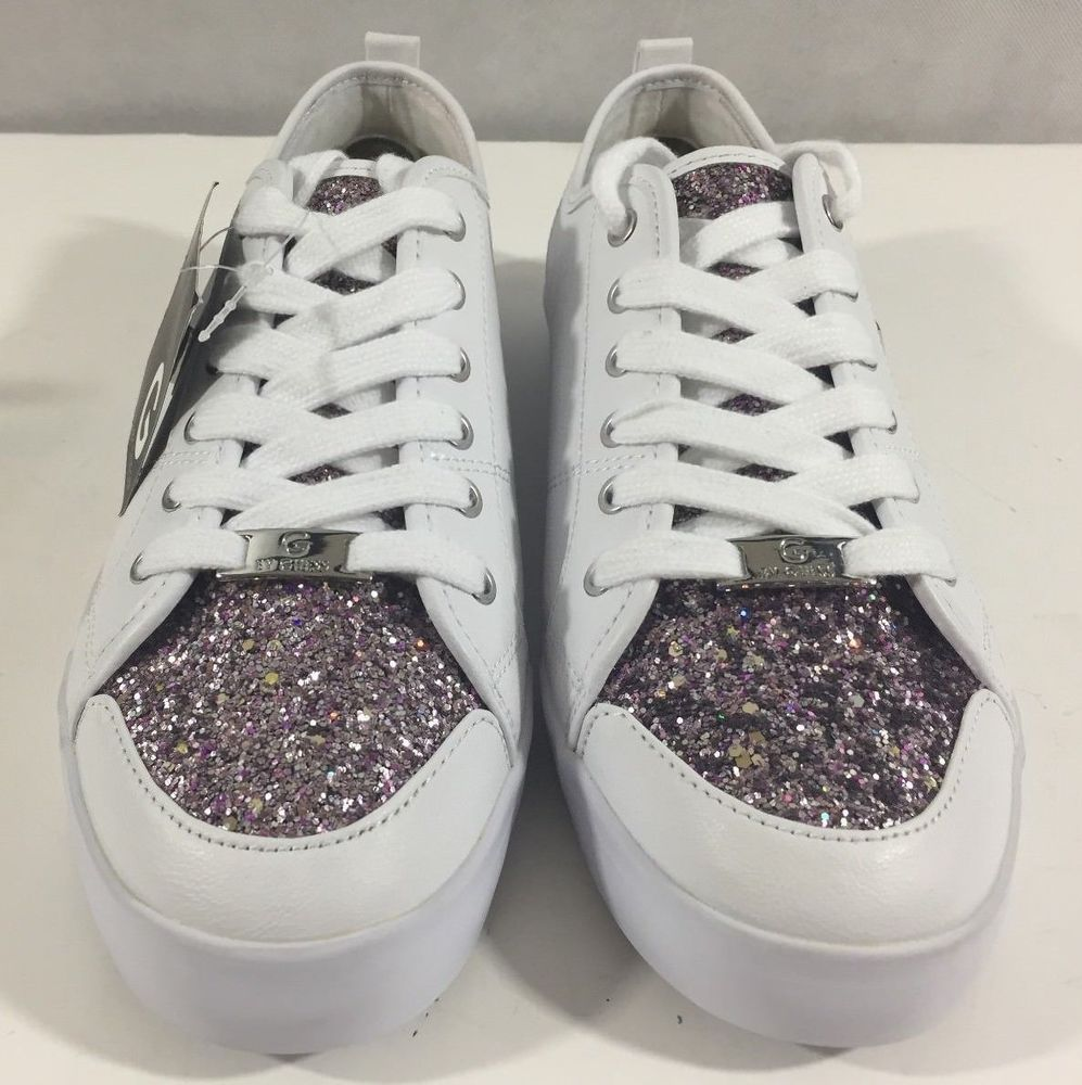 b06966b47ba G BY GUESS MALLORY 7 WHITE GLITTER SPARKLES WOMENS ATHLETIC SNEAKERS SIZE  10 M  Guess  Sneakers