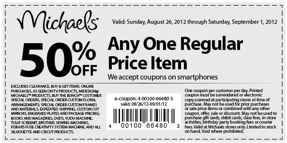 50 Off A Single Item At Michaels Crafts Coupon Via The Coupons App Michaels Coupon Printable Coupons Coupons