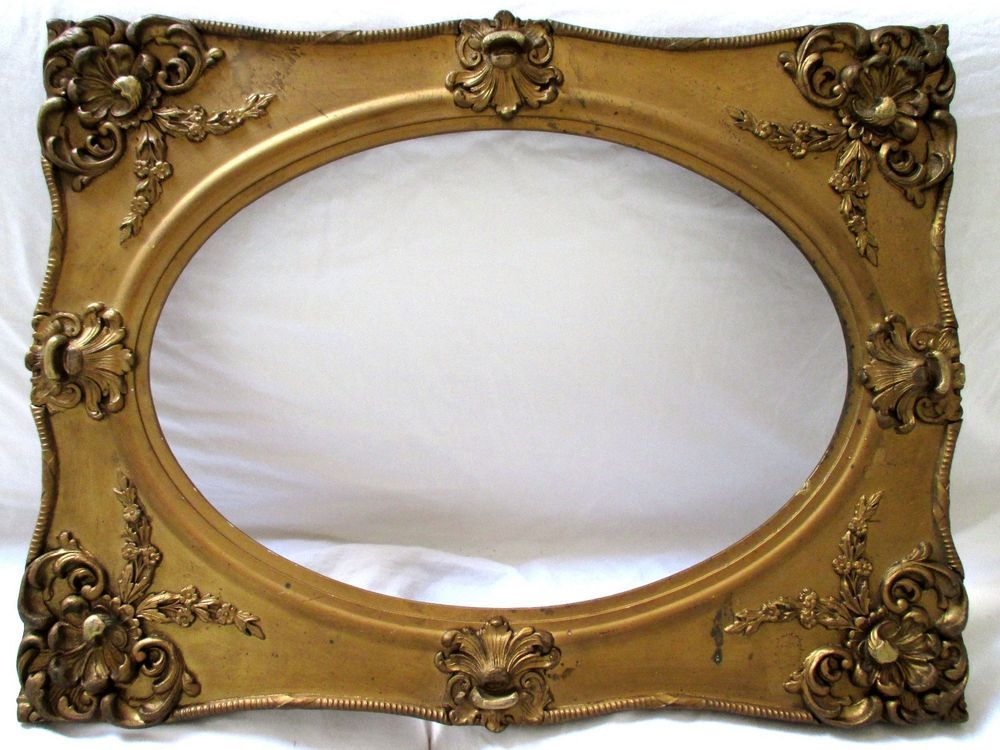 Rare 14x20 antique picture frame gesso wood oval ornate mirror gold ...