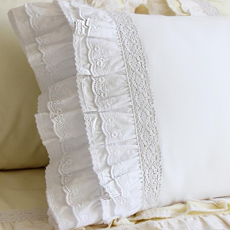 Satin Boutique BabyToddler Pillow With Multiple Colors of Eyelet  Trim 15 X 12 Includes Pillow Form