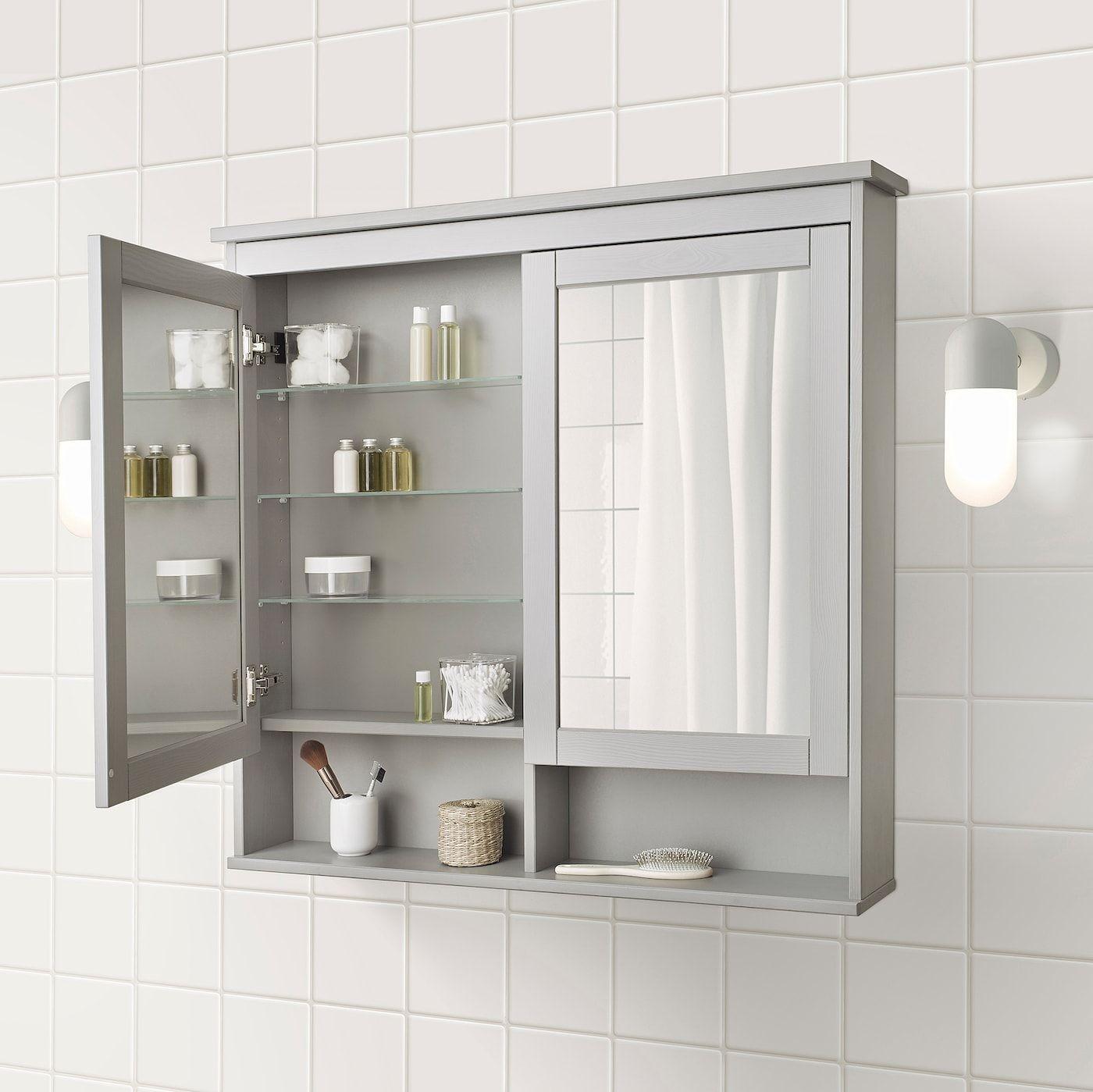 Hemnes Mirror Cabinet With 2 Doors Gray 40 1 2x6 1 4x38 5 8 103x16x98 Cm In 2020 Badezimmer Klein Badezimmer Renovieren Badezimmer Design