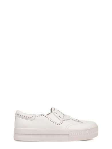 ASH White Jagger Leather Slip On Sneaker. #ash #shoes #sneakers
