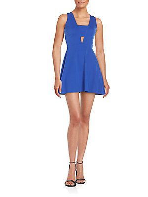 dcdd54a79cb Saks Fifth Avenue RED Textured Fit-And-Flare Dress - Bright Blue - Siz