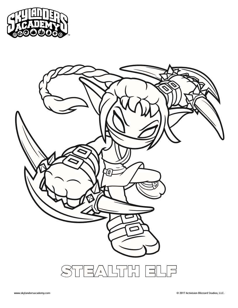 Free Skylanders Stealth Elf Coloring Page | Printable Coloring Pages ...