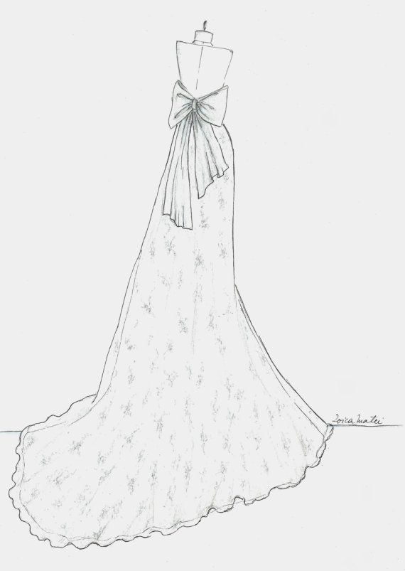 Custom Wedding Dress Sketch, Back Wedding Dress Hand Drawing, Paper ...