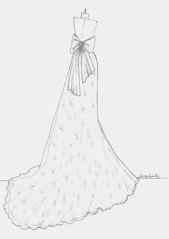 Custom Back Wedding Dress Sketch Wedding Gown Illustration by Zoia ...