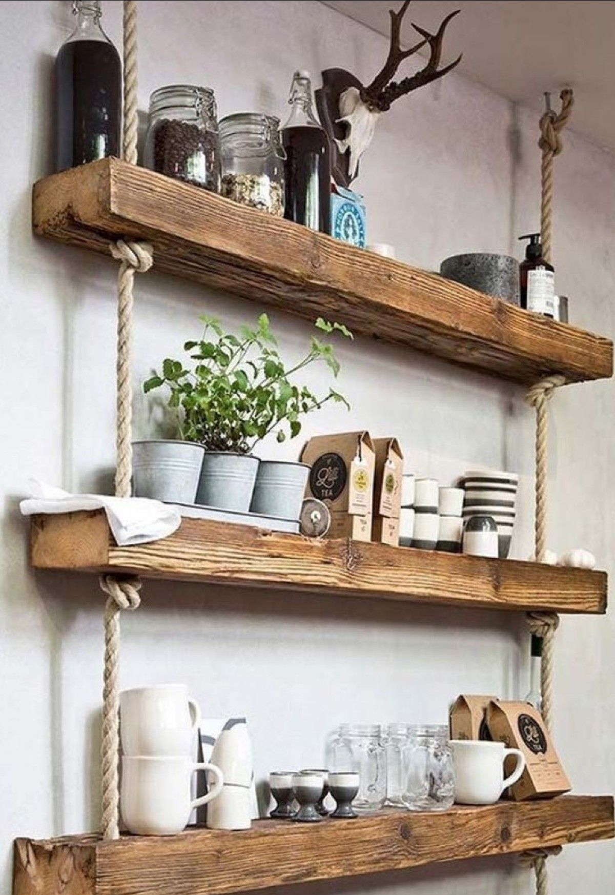 Would Build As Floating Shelves For Stability And Use The Ropes As