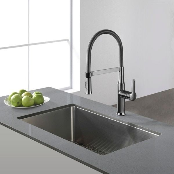 Medium image of kraus 30 inch undermount single bowl 16 gauge stainless steel kitchen sink with noisedefend soundproofing