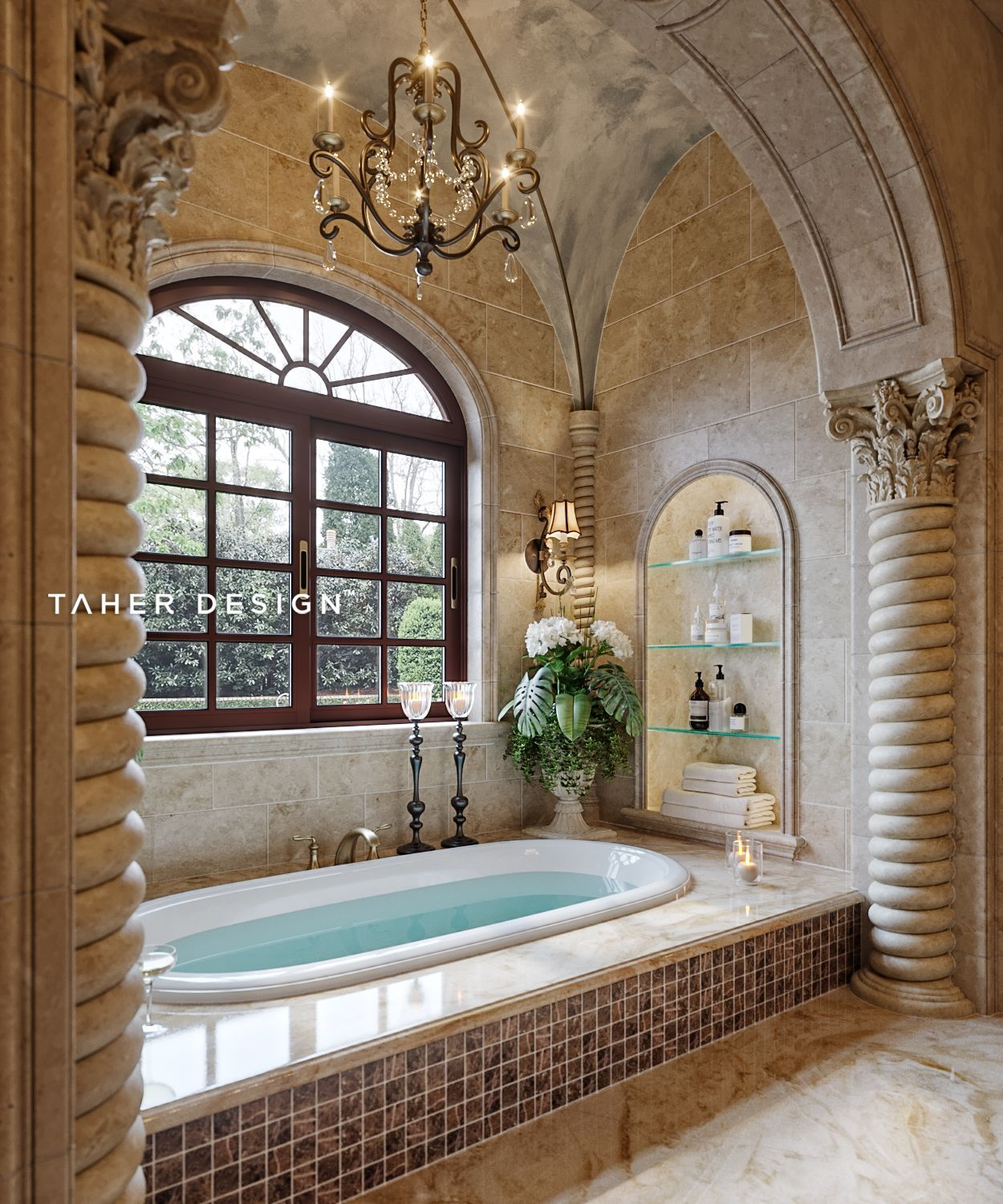 Master bathroom design for luxury mansion located in ...