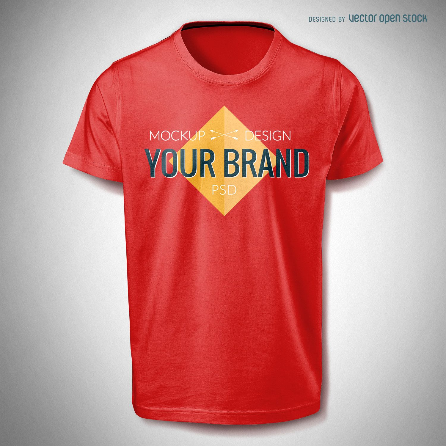 Tshirt mockup template in red. Colors are editable, as is the logo ...