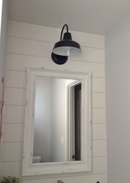 Barn Wall Sconce Lends Farmhouse Look To Powder Room Remake Inspiration Bathroom Lighting Bathroom Lights Over Mirror Bathroom Light Fixtures Bathroom lights over mirror