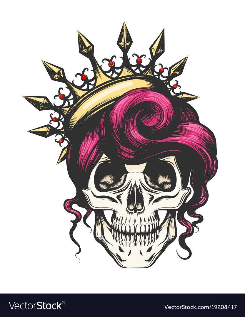 Female Skull In Crown Vector Image On Vectorstock Skull Tattoos Skull Sugar Skull Drawing