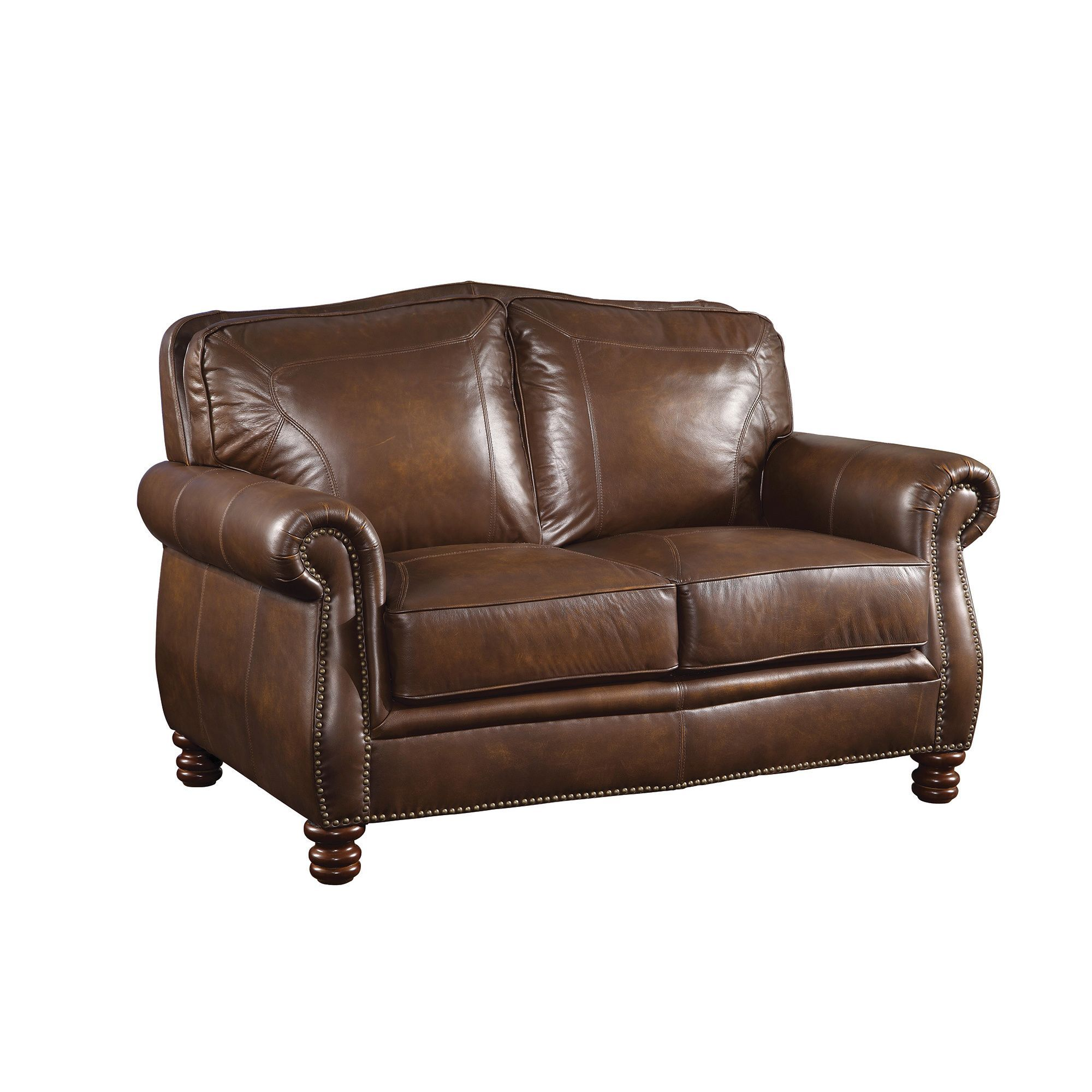 Coaster Company Nailhead Trim Brown Leather Sofa (Loveseat)