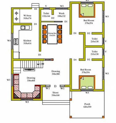 Free Kerala House Plan For Spacious 3 Bedroom Home My House Plans Model House Plan House Floor Design