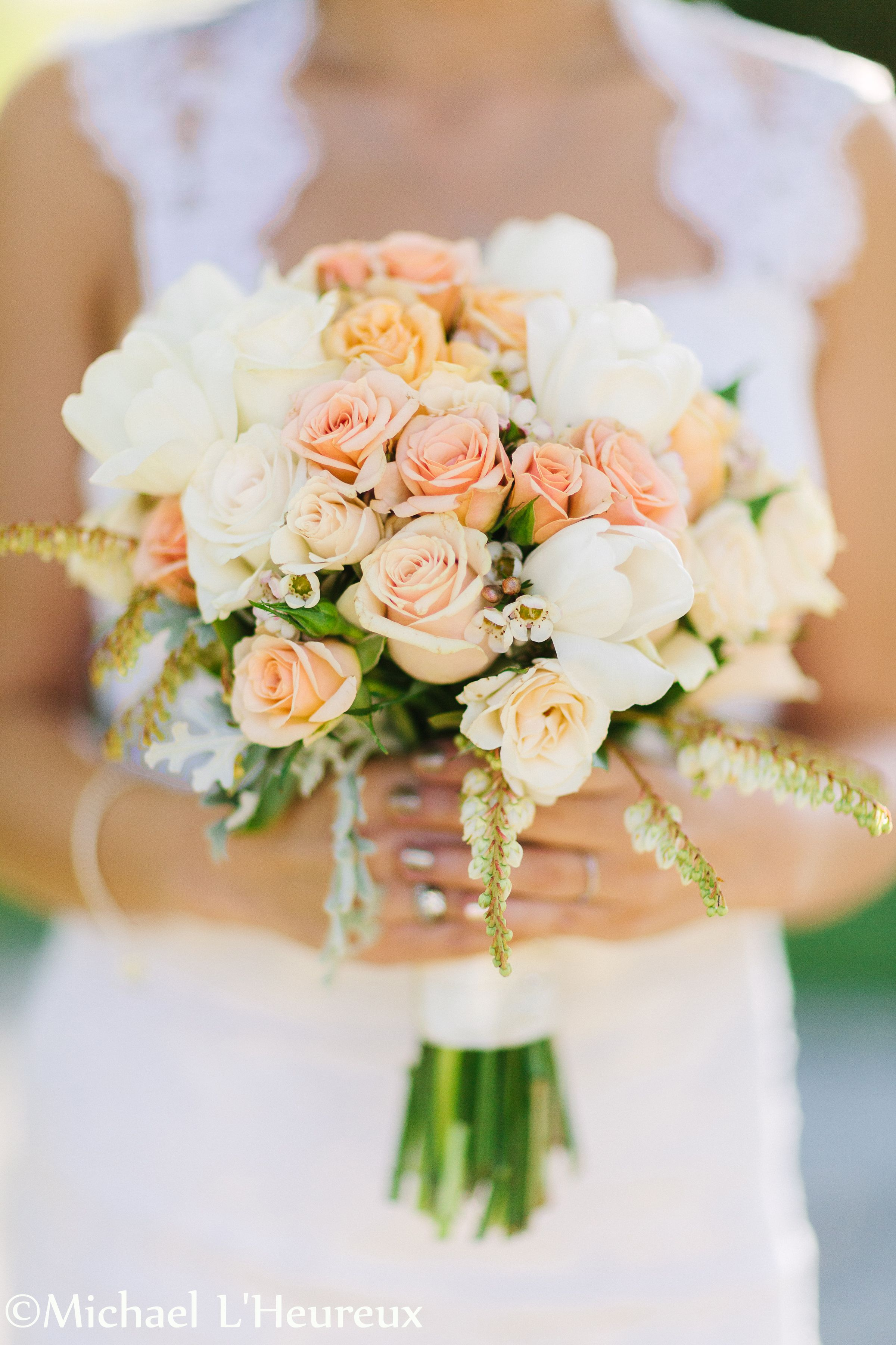 Peach And Creams Hand Tied Bridal Bouquet For Summer Wedding At Vine Hill House In Sebastopol