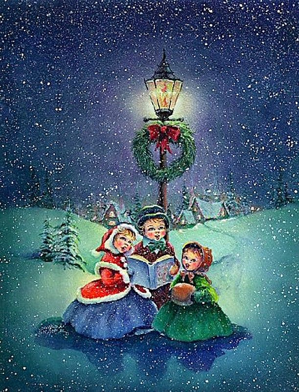 Old Christmas Post Cards — Christmas Carols (611x800)
