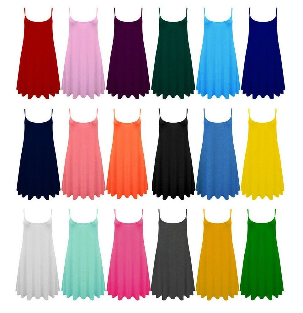Womens Girl New Ribbed Sleeveless Ladies Stretch Long Cami Vest Tank Top 8-12