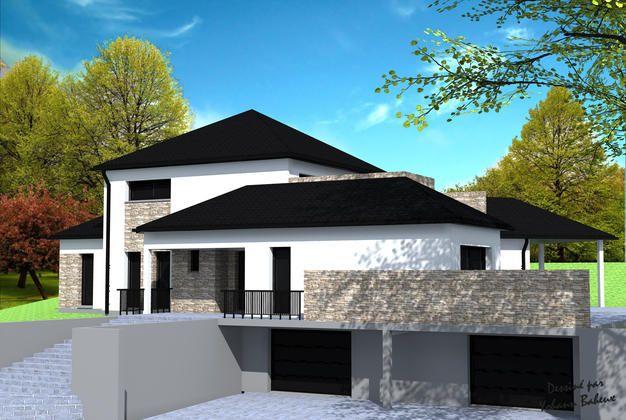Maison avec différentes avancées, en toitures 4 pans à croupes