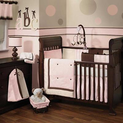 Pink And Brown Baby Nursery 6pc Crib Bedding Set W Stripes Polka Dots