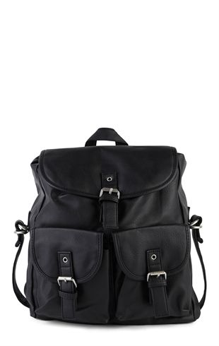 Faux Leather Backpack with Buckle Front and 2 Pockets