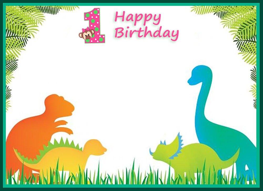 First Birthday Dinosaur Invitation Template