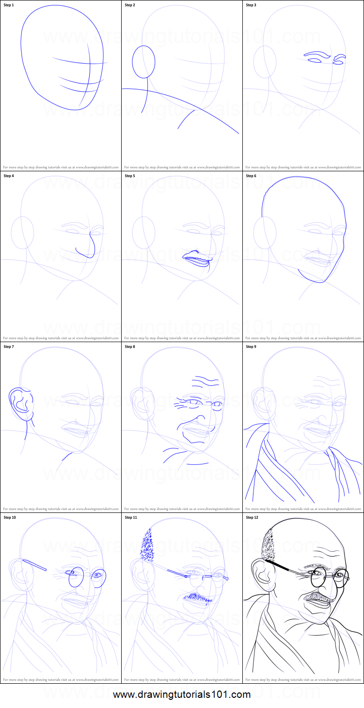 How to draw mahatma gandhi printable step by step drawing sheet