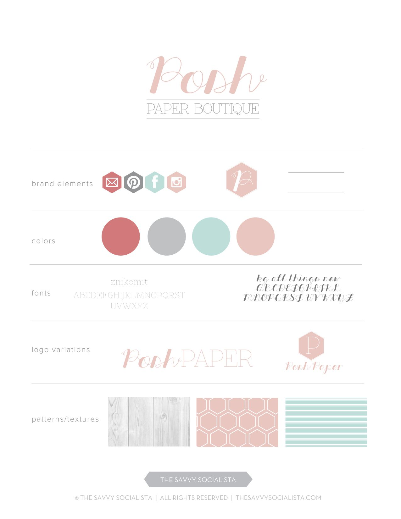 Branding Package And Logo Design Option For Posh Paper Boutique Created By The Savvy Socialista