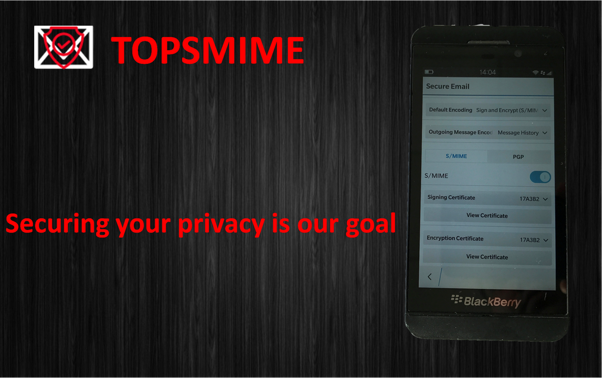 Mobile encryption phone - Blackberry PGP, Blackberry S/MIME