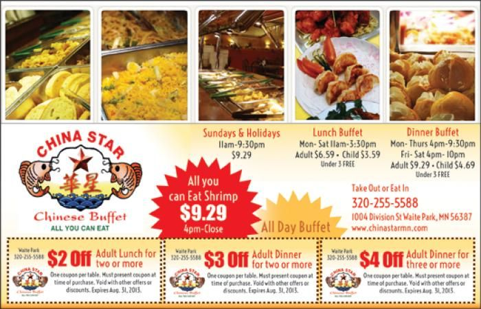 4 Off China Star Chinese Buffet Deal On Blucrate Centralmn